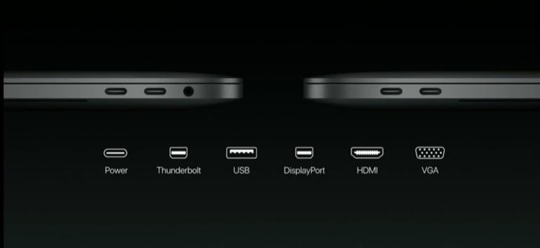 The new MacBook Pro comes kitted out with four Thunderbolt 3 ports