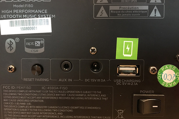 Detail view of the Fluance's input options and USB charging port.